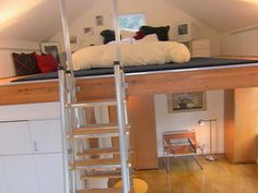 A simple loft for sleeping Kids Beds With Storage, Bed Storage, Kid Beds, Bunk Beds, Small Loft, Loft Ideas, Ladders, Lofts, Hgtv