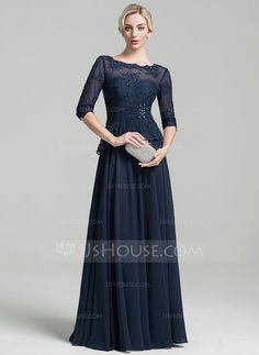 A-Line/Princess Scoop Neck Floor-Length Ruffle Beading Appliques Lace Sequins Zipper Up Sleeves 1/2 Sleeves No Dark Navy General Plus Chiffon Mother of the Bride Dress