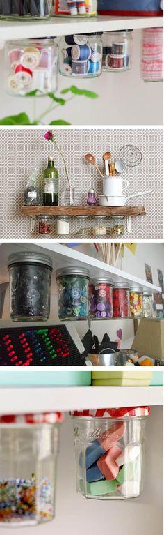 tarros colgados muy ingeniosos de vidrio