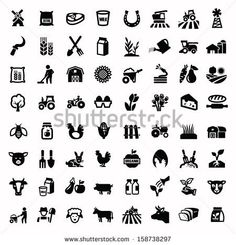 vector black agriculture and farming icons set by bioraven, via Shutterstock