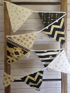 Bunting Banner 9 Penant Flags Fabric Gold by ThePeachPolkaDotShop