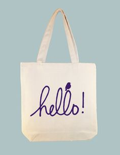 """SPRING SPECIAL Sale  Huge Discount and Ready to ship -- Adorable """"hello"""" with bird 15x15 Canvas tote in PURPLE by Whimsybags, $7.50"""