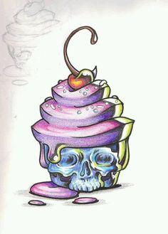 Horror Cake by cherry skull cupcake color Tattoo Flash art ~A. Horror Cake by cherry skull cupcake color Tattoo Flash art ~A. Tattoo Sketches, Tattoo Drawings, Cute Drawings, Skull Tattoos, Body Art Tattoos, Arabic Tattoos, Dragon Tattoos, Sleeve Tattoos, Skull Cupcakes