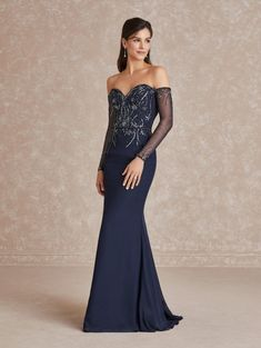 Adrianna Papell 40292 Off Shoulder Long Sleeve Gown Long Sleeve Gown, Adrianna Papell, Designer Wedding Dresses, Mother Of The Bride, Strapless Dress Formal, Formal Dresses, Fit And Flare, Blue Dresses, Bridesmaid Dresses