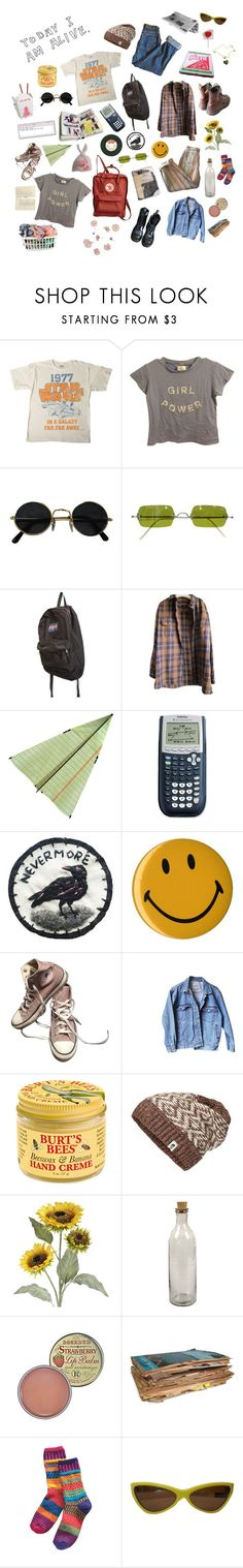 """""""the nerds"""" by tragicindie ❤ liked on Polyvore featuring Brandy Melville, Oliver Peoples, JanSport, Timberland, Plane, Converse, Dr. Martens, Levi's, Burt's Bees and The North Face"""
