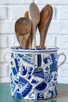 Whimsical Mosaic Utensil Holder or Vase Blue and White READY TO SHIP Peace By Piece, Utensil Holder, Blue China, Thrifting, Repurposed, Tea Pots, Whimsical, Mosaic, Blue And White