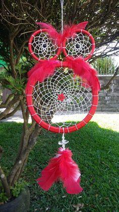 filtro dos sonhos coruja 37cm vermelho