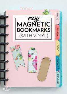 Learn how to make your own Magnetic Bookmarks with vinyl and scissors...perfect for planners, books, notes and more! Bookmarks Diy Kids, Magnetic Bookmarks, How To Make Bookmarks, How To Make Magnets, Diy Magnets, How To Make Diy, Leather Bookmark, Cricut Craft Room, Cricut Creations