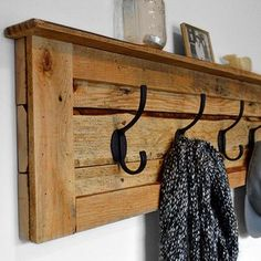 Image result for pallet wood wall shelf with hooks