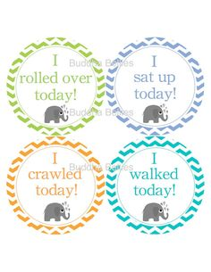 Baby Chevron Elephants Milestone Stickers...Rolled Over... Sit up...Crawled...Walked...Great Photo Prop