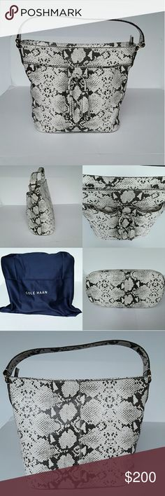 Cole haan hobo handbag Lovely  cole haan snake skin embossed leather  hobo handbag .It has 3 inner pockets to organize your stuff. It comes with a dust bag and a care card. Cole Haan Bags Hobos