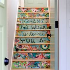 Beautiful hand painted staircase leading from the living quarters to home studio.