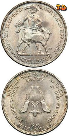 N♡T. ½ Dollar New Rochelle Country 	United States Year 	1938 Value 	1/2 Dollar 0.50 USD = 0.45 EUR Metal 	Silver (.900) Weight 	12.50 g Diameter 	30.60 mm