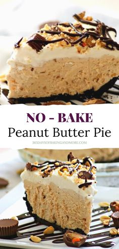 An Oreo crust, fluffy peanut butter filling, fresh whipped cream, and the perfect toppings make this treat a great choice for your favorite peanut butter lover! Best Dessert Recipes, Sweet Desserts, No Bake Desserts, Pie Recipes, Yummy Recipes, Snack Recipes, Yummy Food, Snacks, Peanut Butter Filling