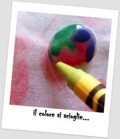 Sassolini colorati coi pastelli a cera