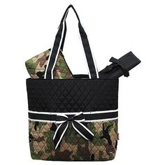 Camo Quilted White Stripe Diaper Bag-Black.