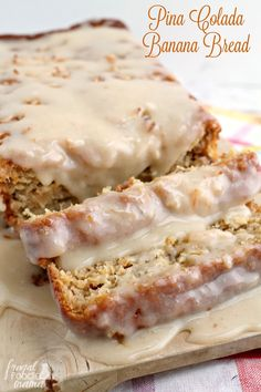 This incredibly moist & decadent Pina Colada Banana Bread with a Buttered Rum Glaze is a must-make boozy treat.