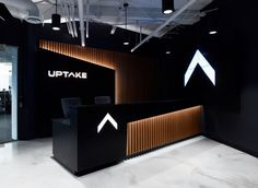 Uptake Headquarters – Chicago – Office Snapshots by hahndanielmd Reception Counter Design, Office Reception Design, Office Table Design, Office Furniture Design, Reception Desks, Reception Areas, Corporate Office Design, Dental Office Design, Modern Office Design