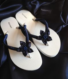 9e92ec2d58a5c Navy Beach Bride Flip Flops   Wedding Flip Flops   Bridesmaid gifts