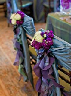 In love with this chair decor. Use our satin sashes with curly willow sash as embellishment. Add a small bouquet of fresh flowers. viola! perfection.  www.cvlinens.com #curlywillow #chairsash #chairdecor #wedding #party #event #cvlinens