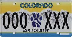 "State of Colorado ""Adopt A Shelter Pet"" License Plates"