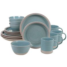 Create refreshing elegance for your table setting with the Artisan Teal Dinnerware Set from Certified International. This swirled teal ceramic design features a contrasting matte rim for a contemporary twist on traditional dinnerware. Blue Dinnerware Sets, Casual Dinnerware, Stoneware Dinnerware, Plastic Dinnerware, Traditional Dinnerware, Ice Cream Bowl, Cream Bowls, Hand Thrown Pottery, Ceramic Design
