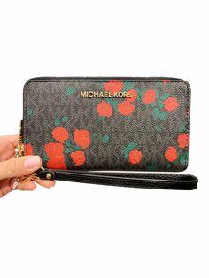 91330706580b32 Michael Kors Jet Set Phone Wristlet Wallet Black MK Signature Rose  #amazondeals #ebayseller #