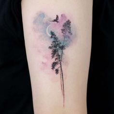 Doy - one of the best tattoo artists of South Korea, Tattoo, Tattoo artist Doy, authors style watercolor tattoo, minimalistic Tattoos Bein, Mini Tattoos, New Tattoos, Body Art Tattoos, Small Tattoos, Water Color Tattoos, Forearm Tattoos, Pretty Tattoos, Beautiful Tattoos