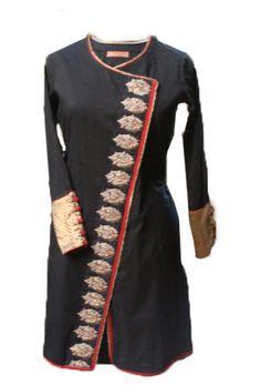 Black jacket kurta- with thin gotapatti Indian Suits, Indian Attire, Indian Dresses, Indian Wear, Salwar Designs, Blouse Designs, Modest Fashion, Fashion Outfits, Kurta Style
