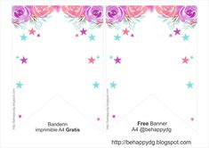 Be happy: Printable Birthday Banner Unicorn Printables, Party Printables, Free Printables, Printable Birthday Banner, Unicorn Birthday Invitations, Diy Garland, Flora, Arts And Crafts, Baby Shower