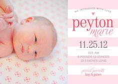 Baby Girl Birth Announcement - 5x7 Printable on Etsy, $11.00