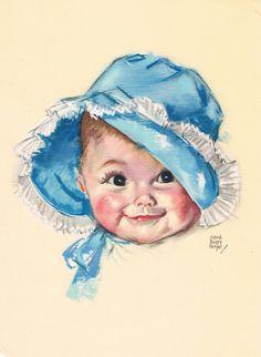 Baby Blue Bonnet Maud Tousey Fangel Calendar Art by RedfordRetro, $15.00