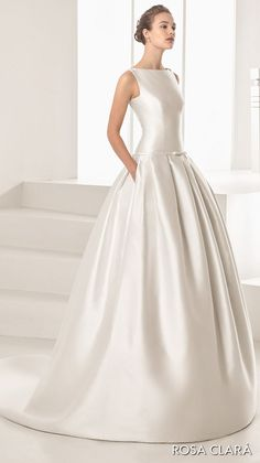 rosa clara 2017 bridal sleeveless bateau neckline simple clean drop waist ball gown wedding dress with pockets cover lace back chapel train (nao)  fv -- Rosa Clará 2017 Bridal Collection
