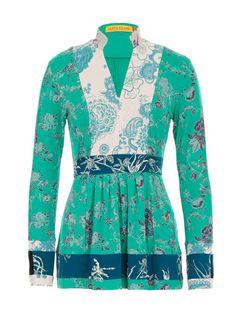 Mandarin-Collar Blouse from Maya Prass Fresh Outfits, Green Blouse, Collar Blouse, Mandarin Collar, Clothes Horse, Buy Shoes, Best Brand, Maya, Fashion Online