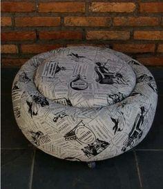 DIY Möbel aus Autoreifen autoreifen recycling hocker stoff