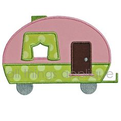 Camper Applique | Curtain Camper Applique Design - Machine Embroidery - INSTANT DOWNLOAD
