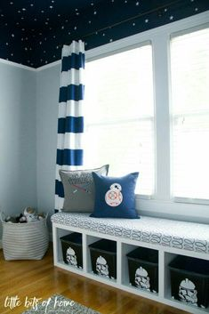 star wars themed kids bedroom with clone trooper storage bins navy horizontal striped curtains and navy star ceiling - Kids Room Storage Bench