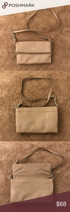 Kate Spade Crossbody Bag Pre-owned. Dark beige Kate Spade Crossbody Bag. Bought it and never got a chance to wear it. Tiny mark next to the Kate Spade logo and minor wear on both bottom corners (see pictures). Not that noticeable. Otherwise, in great condition.  If you have any questions, please ask! I want to make sure you love what you buy. ☺️ kate spade Bags Crossbody Bags