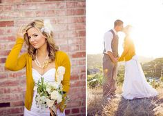 Bridal Gown Coverup : wedding bride bridesmaid cardigan cover up coverup dress large opinion pictures plus size sweater Wedding Dress Cardigan 001 Wedding Reception Outfit, Casual Wedding, Fall Wedding, Dream Wedding, Yellow Cardigan, Yellow Dress, Mustard Cardigan, Burgundy Cardigan, Yellow Wedding