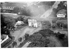 Aerial photo of the Gate of Amsterdam in Jakarta, build in 1620 destroyed in 1950. No wonder I have never heard or saw it