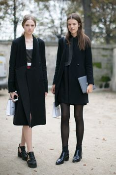 all black x 2. #HollyRoseEmery & #KayleyChabot #offduty in Paris.