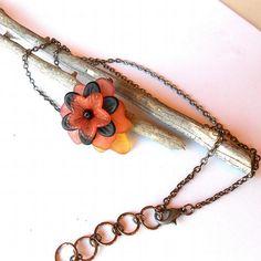 Flower necklace autumn orange black yellow and swarovski by CrowsdanceDesigns, $15.00 USD  #zibbet #handmadejewelry #gifts