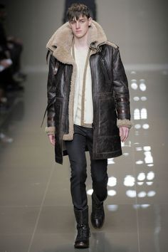 Man in Leather Sheepskin Shearling Coat