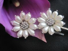 Bridal Accessory Pearl and Rhinestone Flower Hair Pins Set of Two  for Bride, Bridesmaids, Mother of the Bride, Prom. $28.00, via Etsy.