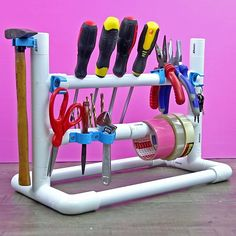 Diy Projects Pvc Pipes, Diy Storage Projects, Pvc Pipe Crafts, Diy Garage Storage, Tool Storage, Pvc Pipe Storage, Storage Ideas, Pvc Pipe Furniture, Furniture Storage