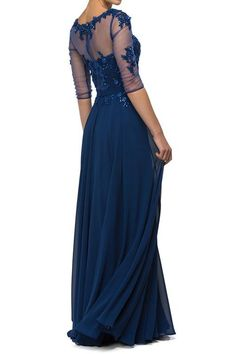 Floor Length Pageant Long 3/4 sleeves Gown Navy Mother of the Bride dress