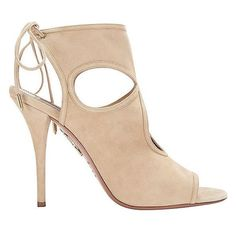 Aquazzura Sexy Thing Cut Out Suede Sandal: Nude ($565) ❤ liked on Polyvore featuring shoes, sandals, sexy sandals, tie sandals, high heel shoes, nude shoes and open toe high heel sandals