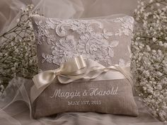 Custom Embroidery is welcome !  Elegant Wedding Pillow  Customizable Personalized wedding Ring Pillows Can be personalized with *** Mr. &
