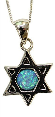 Silver & Opal Star Of David With Chai Necklace - Chain 18 inch Pendant 3/4 inch H 5/8 inch W