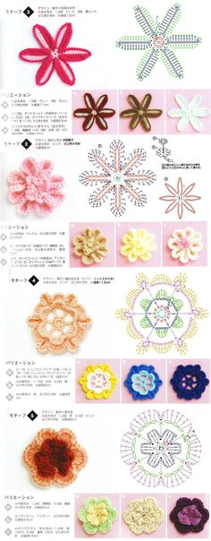 Free Crochet Pattern. For beginners, 4 crochet flower motifs.